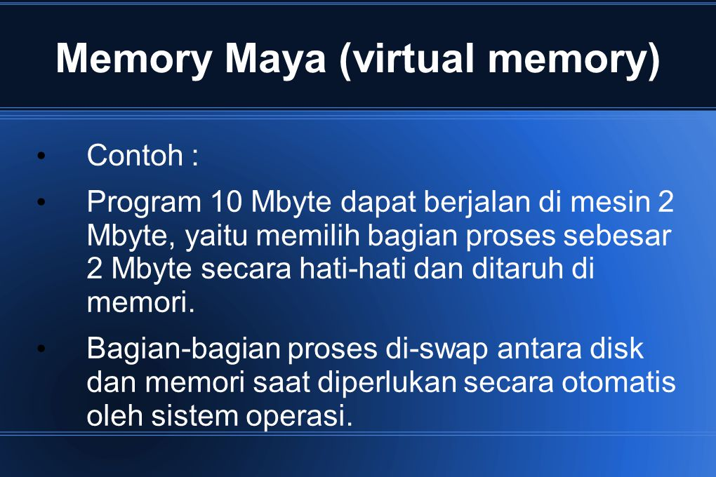 Memory Maya (virtual memory)
