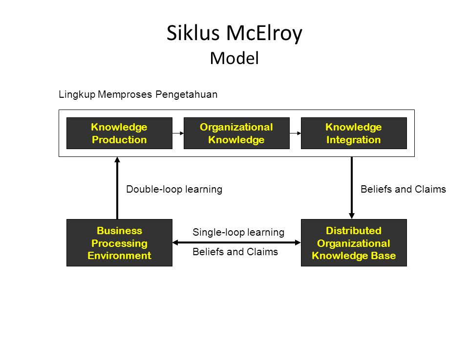 Siklus McElroy Model Lingkup Memproses Pengetahuan Knowledge