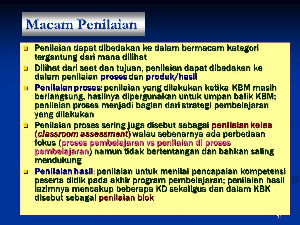 Macam Penilaian Penilaian dapat dibedakan ke dalam bermacam kategori tergantung dari mana dilihat.