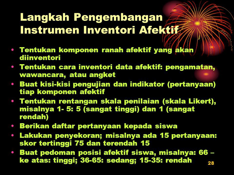 Langkah Pengembangan Instrumen Inventori Afektif
