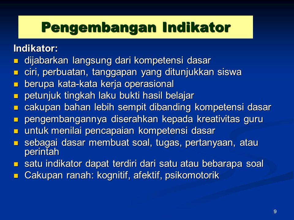 Pengembangan Indikator