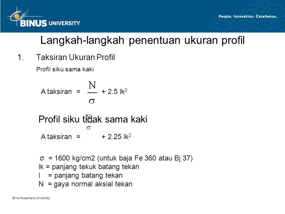 Langkah-langkah penentuan ukuran profil
