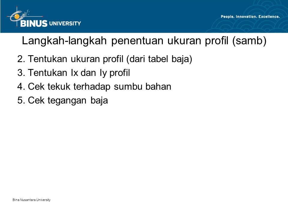 Langkah-langkah penentuan ukuran profil (samb)
