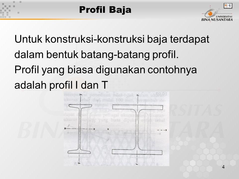 Untuk konstruksi-konstruksi baja terdapat
