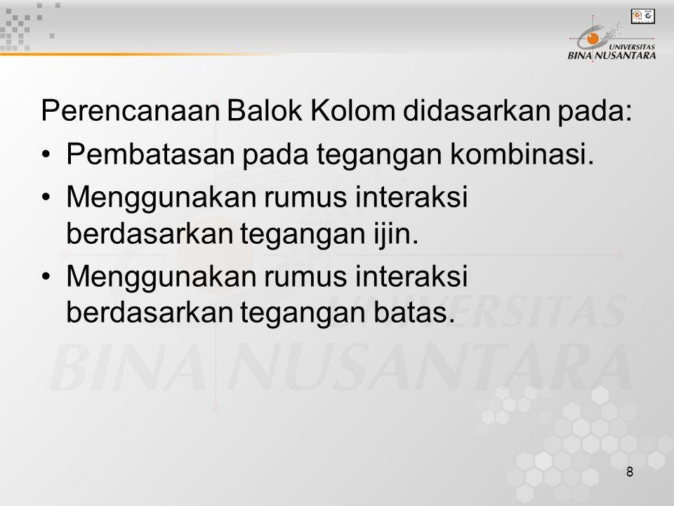 Perencanaan Balok Kolom didasarkan pada: