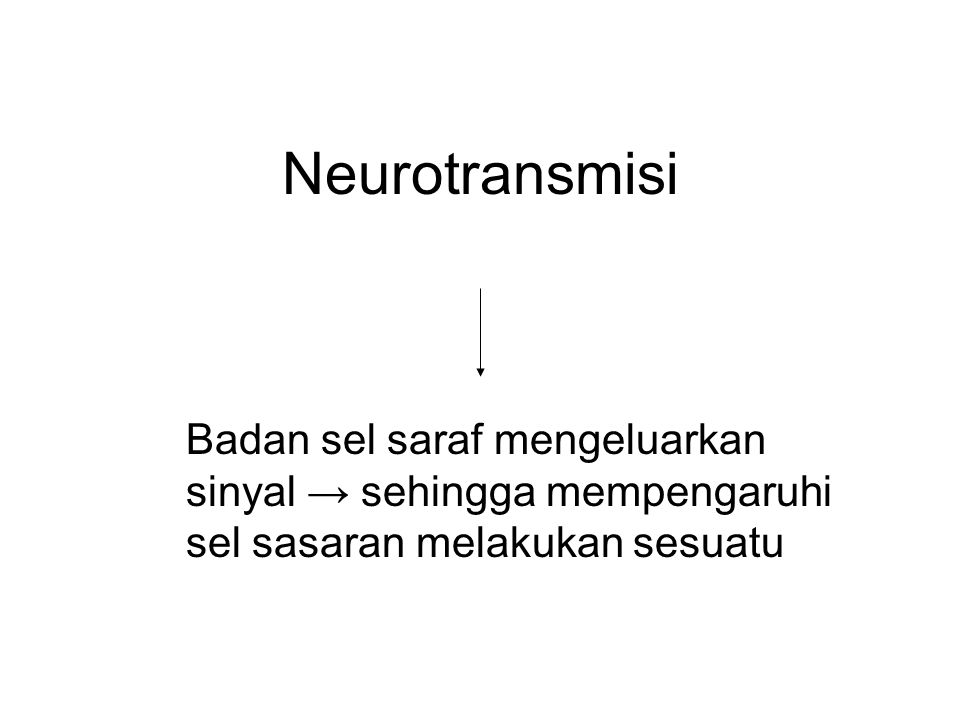 Neurotransmisi Badan sel saraf mengeluarkan sinyal → sehingga mempengaruhi sel sasaran melakukan sesuatu.