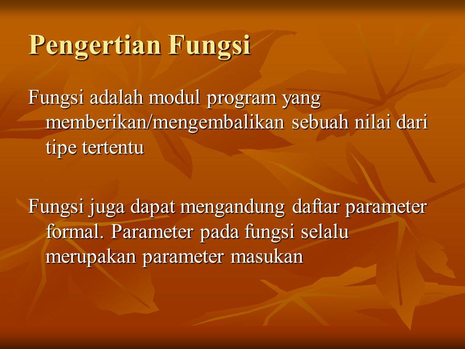 Pengertian Fungsi Fungsi adalah modul program yang memberikan/mengembalikan sebuah nilai dari tipe tertentu.