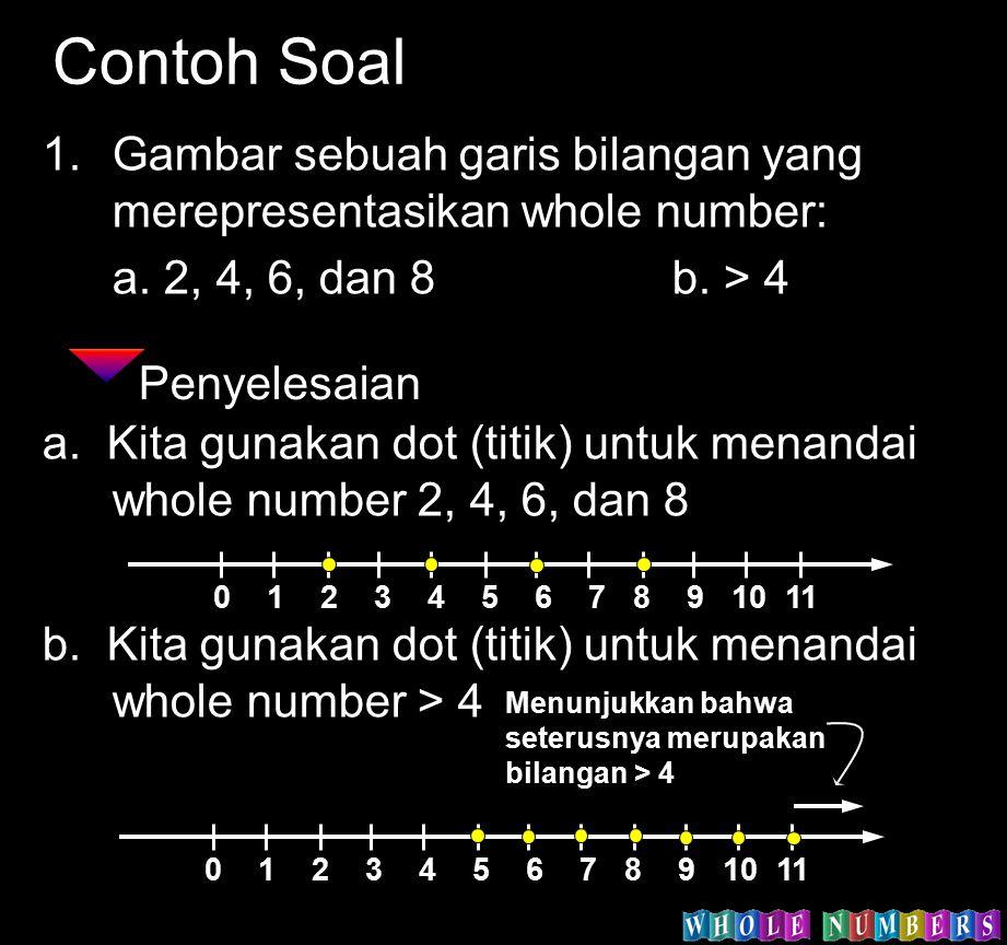 Contoh Soal Gambar sebuah garis bilangan yang merepresentasikan whole number: a. 2, 4, 6, dan 8 b. > 4.
