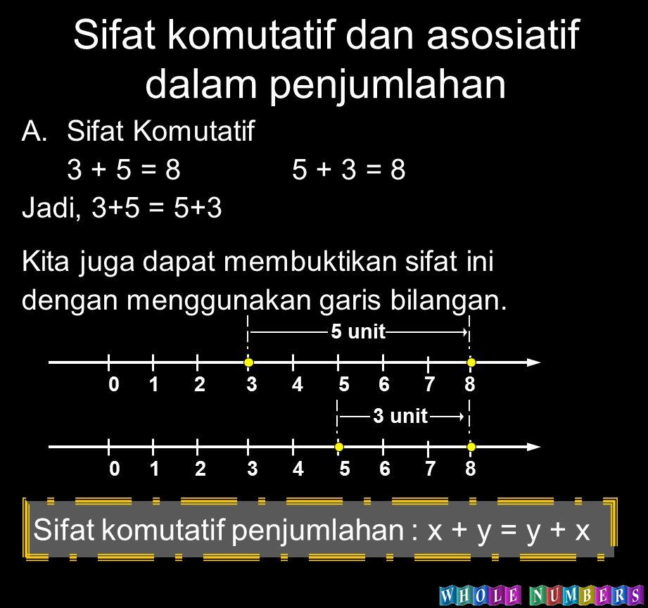 Sifat komutatif dan asosiatif dalam penjumlahan