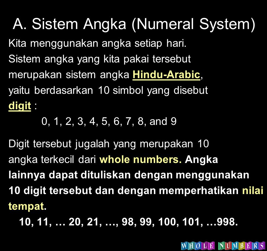 A. Sistem Angka (Numeral System)