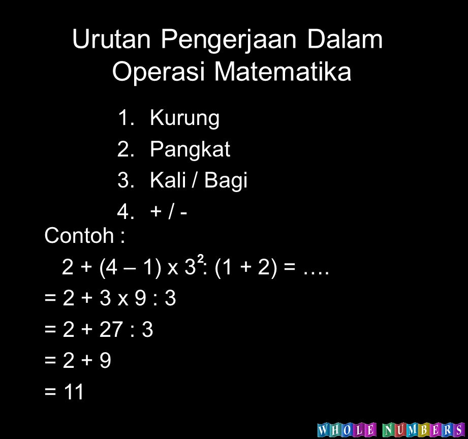 Urutan Pengerjaan Dalam Operasi Matematika