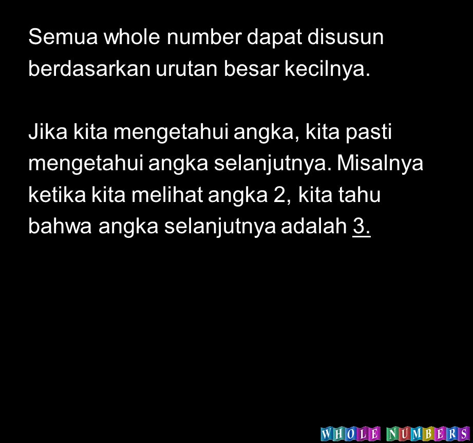 Semua whole number dapat disusun