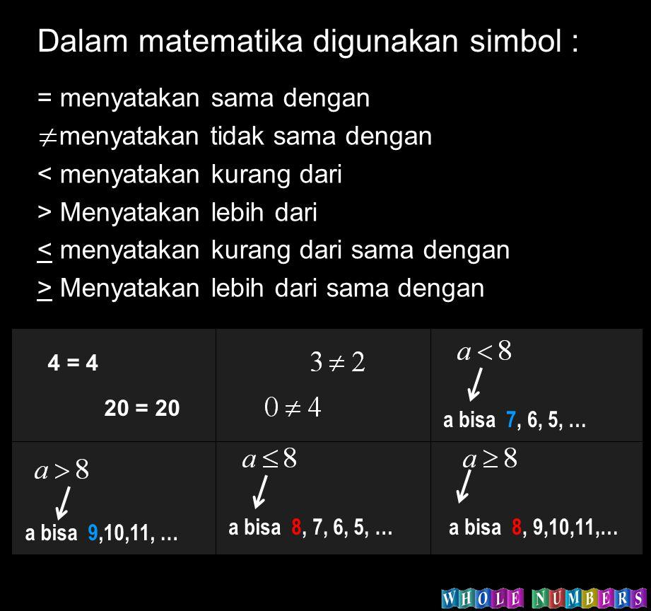 Dalam matematika digunakan simbol :