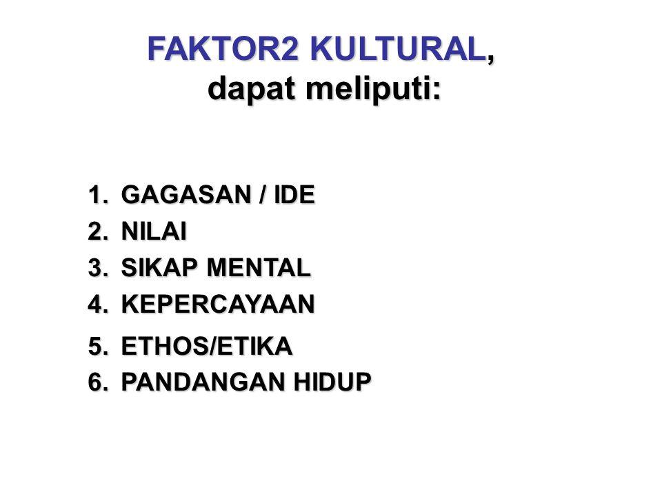FAKTOR2 KULTURAL, dapat meliputi: