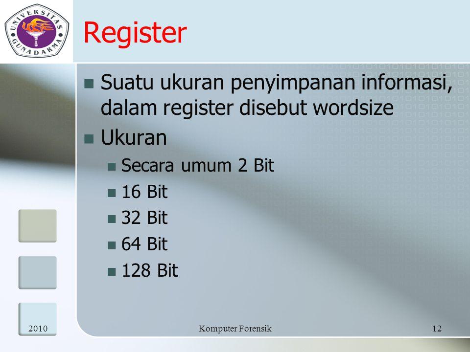Register Suatu ukuran penyimpanan informasi, dalam register disebut wordsize. Ukuran. Secara umum 2 Bit.
