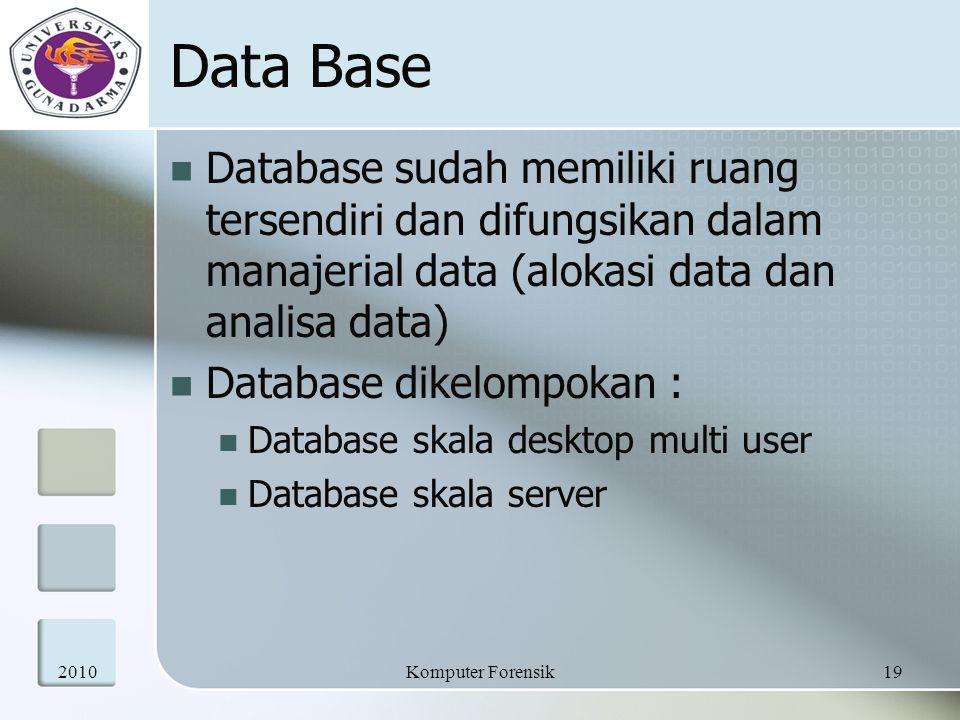 Data Base Database sudah memiliki ruang tersendiri dan difungsikan dalam manajerial data (alokasi data dan analisa data)