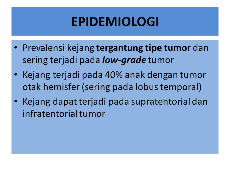EPIDEMIOLOGI Prevalensi kejang tergantung tipe tumor dan sering terjadi pada low-grade tumor.