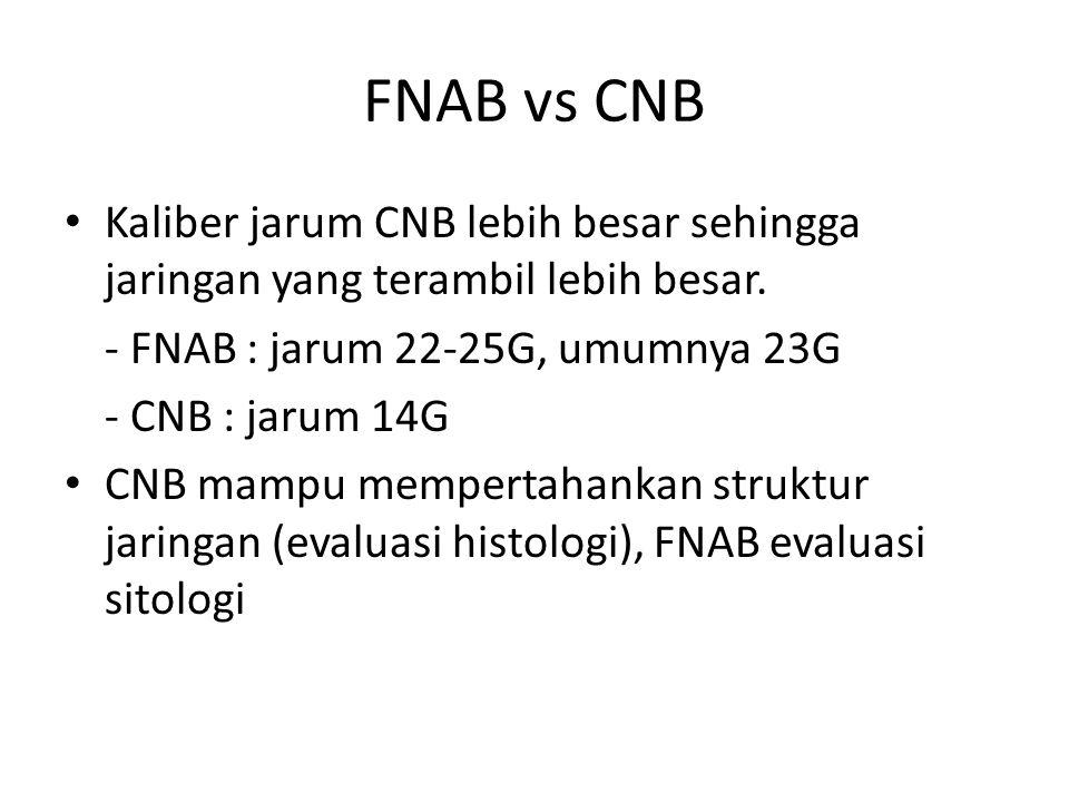 FNAB vs CNB Kaliber jarum CNB lebih besar sehingga jaringan yang terambil lebih besar. - FNAB : jarum 22-25G, umumnya 23G.