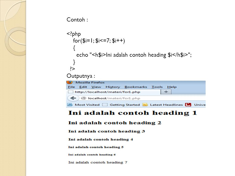 Contoh : < php.