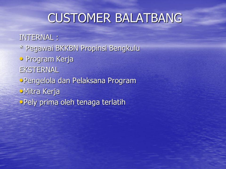 CUSTOMER BALATBANG INTERNAL : * Pegawai BKKBN Propinsi Bengkulu