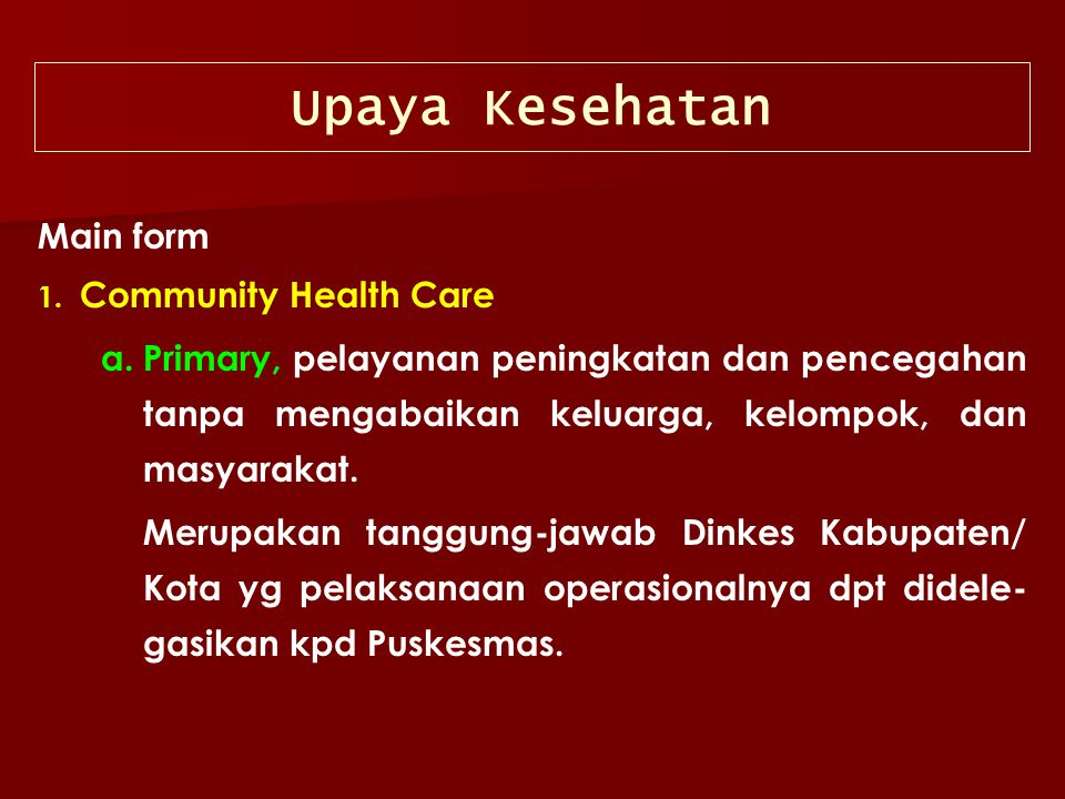 Upaya Kesehatan Main form Community Health Care