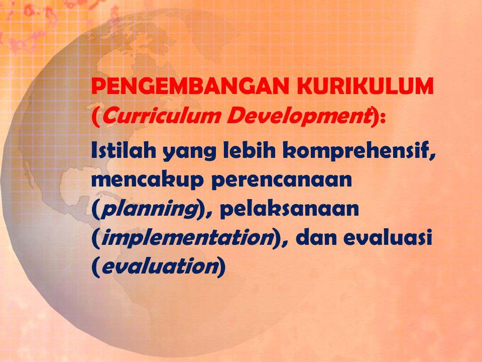 PENGEMBANGAN KURIKULUM (Curriculum Development):