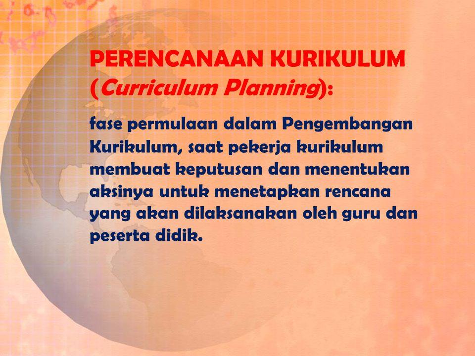 PERENCANAAN KURIKULUM (Curriculum Planning):