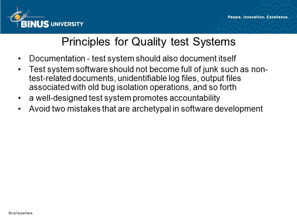 Principles for Quality test Systems