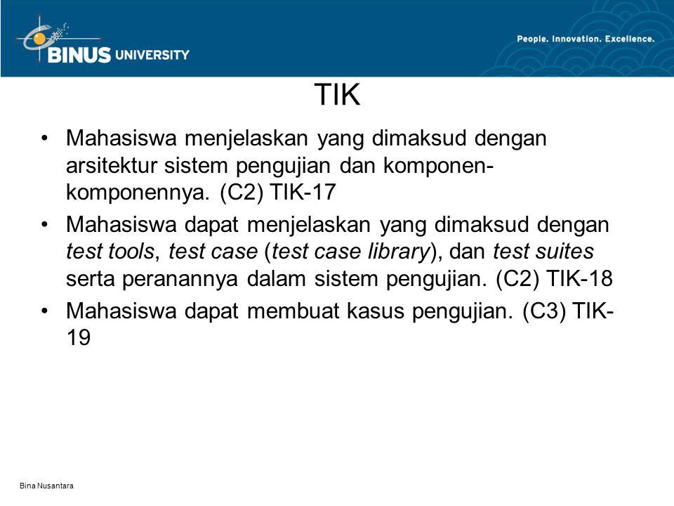 TIK Mahasiswa menjelaskan yang dimaksud dengan arsitektur sistem pengujian dan komponen-komponennya. (C2) TIK-17.