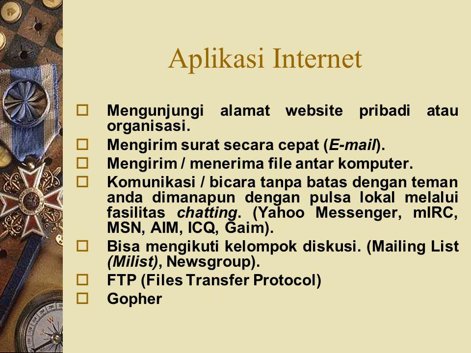 Aplikasi Internet Mengunjungi alamat website pribadi atau organisasi.
