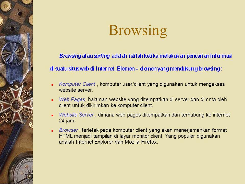 Browsing Komputer Client , komputer user/client yang digunakan untuk mengakses website server.