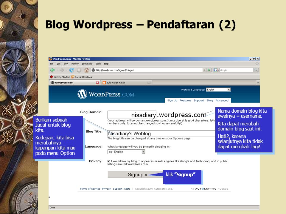 Blog Wordpress – Pendaftaran (2)‏
