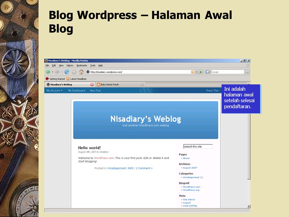 Blog Wordpress – Halaman Awal Blog