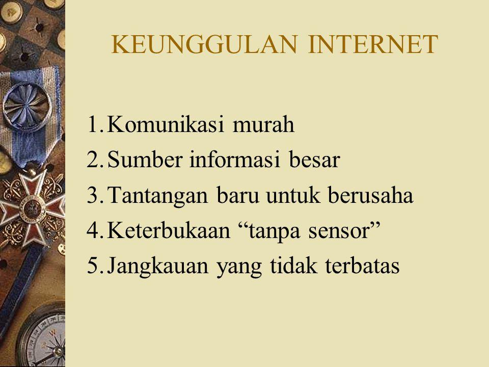 KEUNGGULAN INTERNET Komunikasi murah Sumber informasi besar