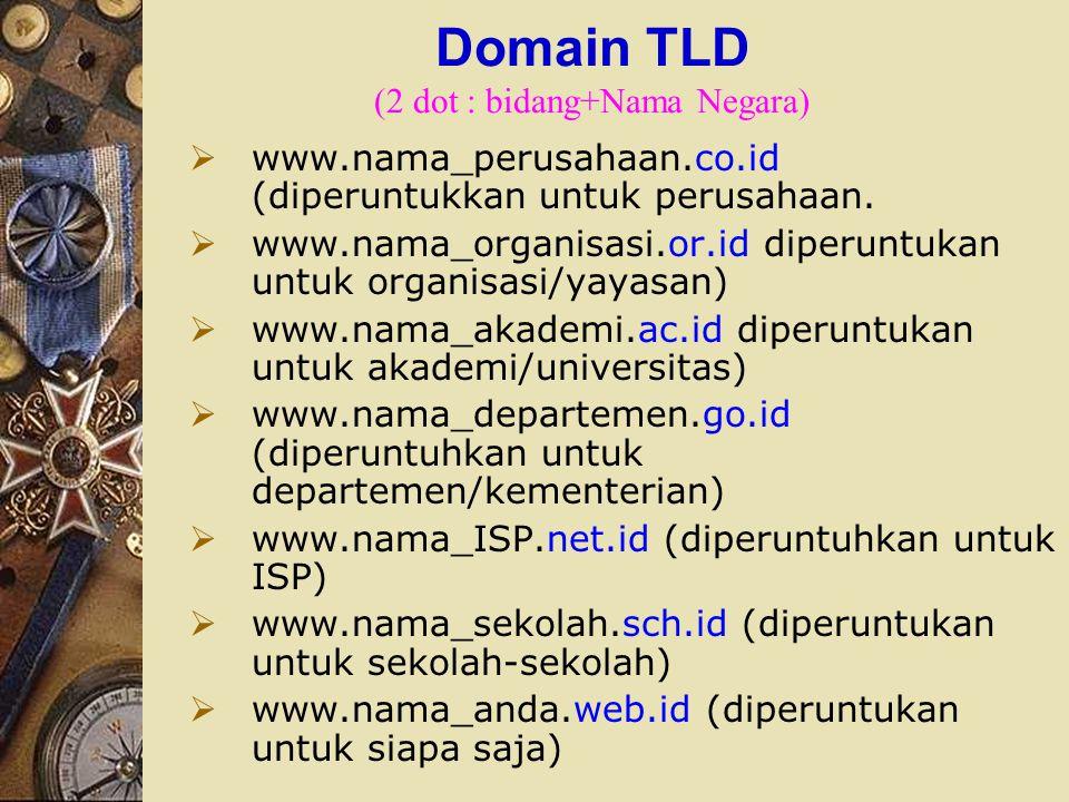 Domain TLD (2 dot : bidang+Nama Negara)
