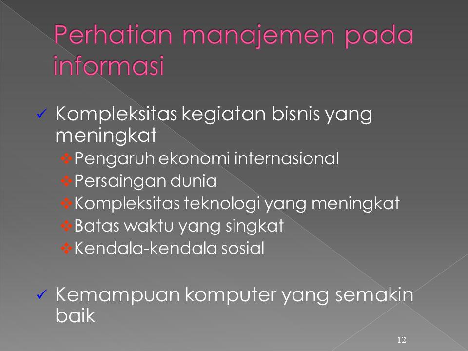 Perhatian manajemen pada informasi