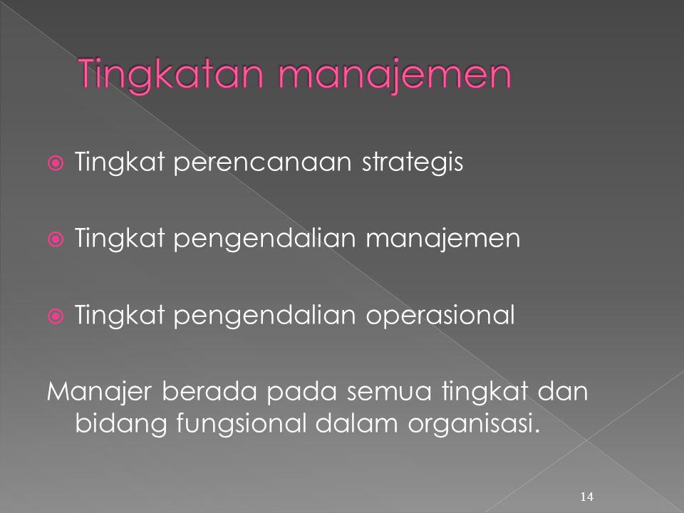 Tingkatan manajemen Tingkat perencanaan strategis