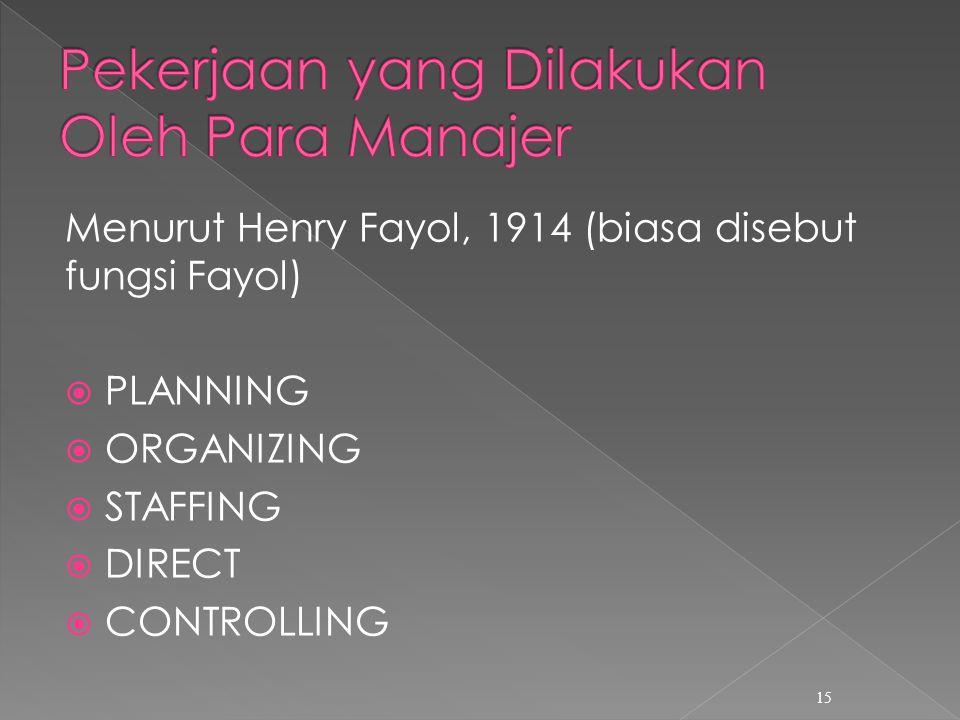 Pekerjaan yang Dilakukan Oleh Para Manajer