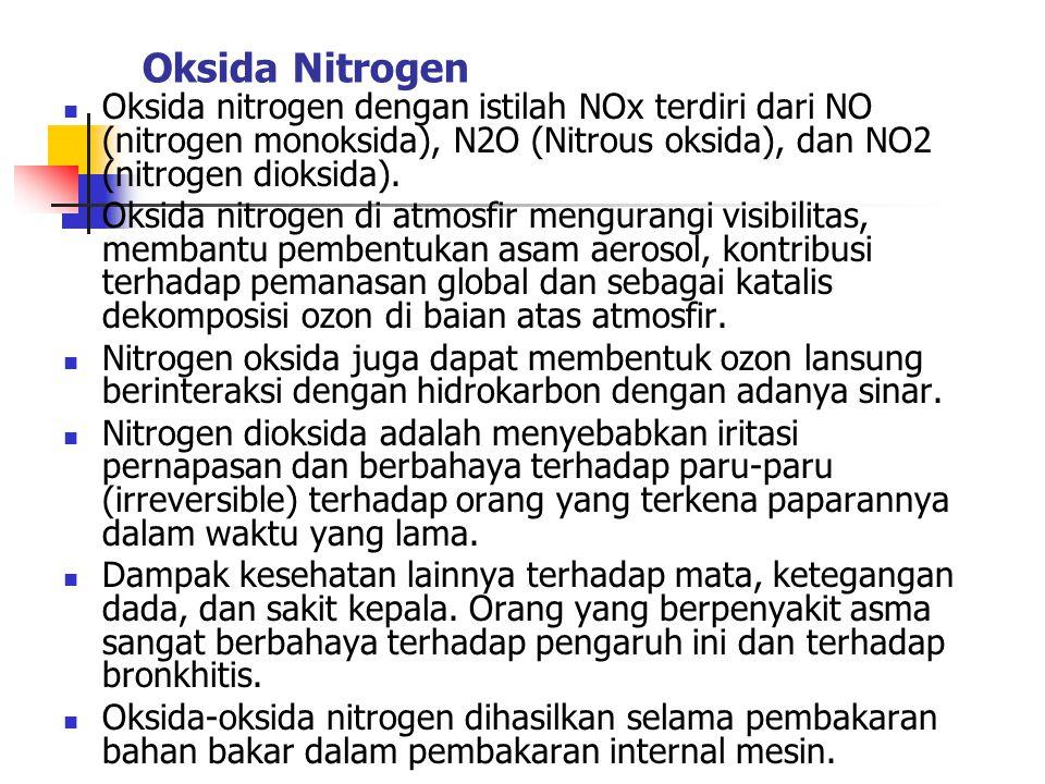 Oksida Nitrogen Oksida nitrogen dengan istilah NOx terdiri dari NO (nitrogen monoksida), N2O (Nitrous oksida), dan NO2 (nitrogen dioksida).