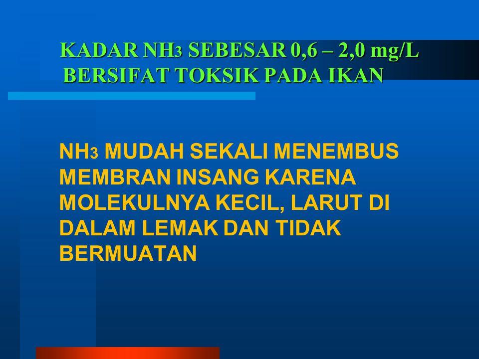 KADAR NH3 SEBESAR 0,6 – 2,0 mg/L BERSIFAT TOKSIK PADA IKAN