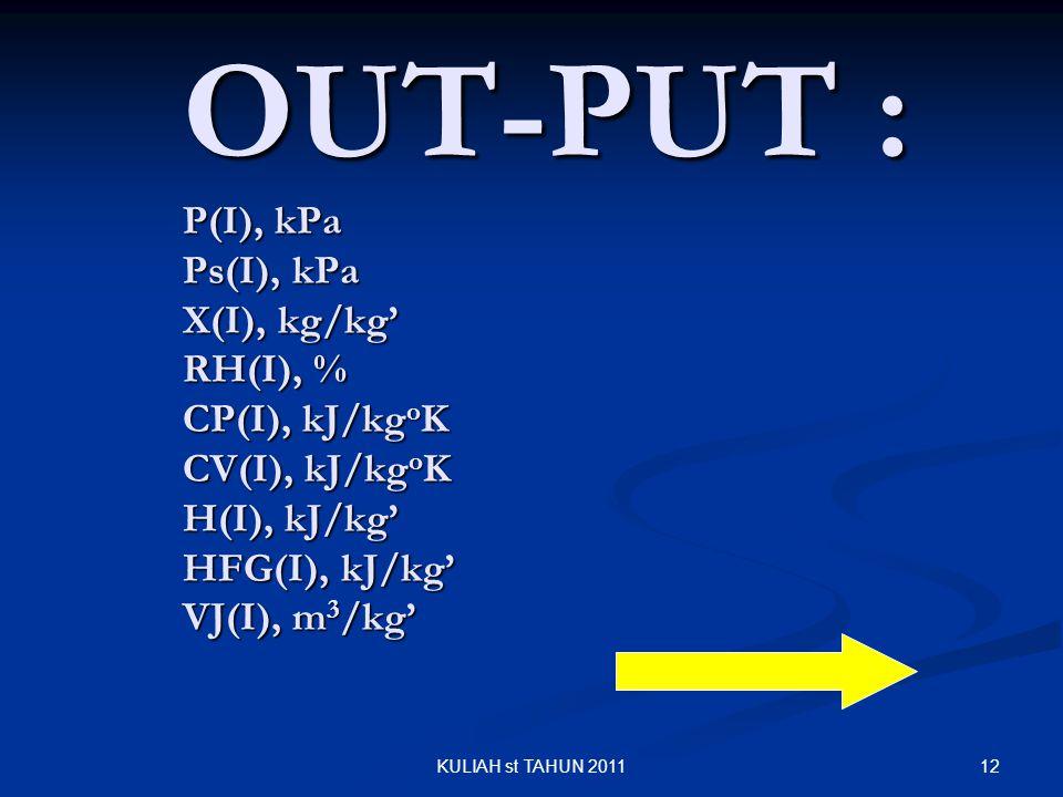 OUT-PUT : P(I), kPa Ps(I), kPa X(I), kg/kg' RH(I), % CP(I), kJ/kgoK CV(I), kJ/kgoK H(I), kJ/kg' HFG(I), kJ/kg' VJ(I), m3/kg'