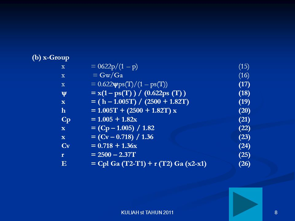  = x(1 – ps(T) ) / (0.622ps (T) ) (18)
