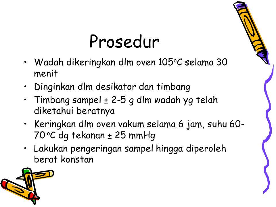 Prosedur Wadah dikeringkan dlm oven 105oC selama 30 menit