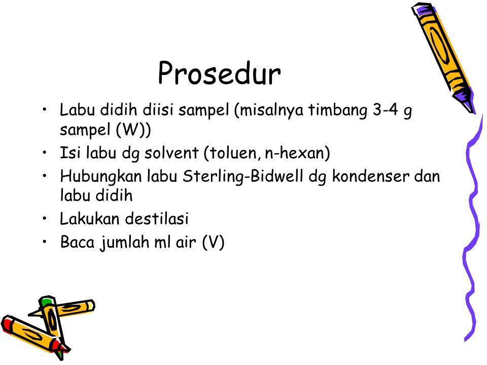Prosedur Labu didih diisi sampel (misalnya timbang 3-4 g sampel (W))