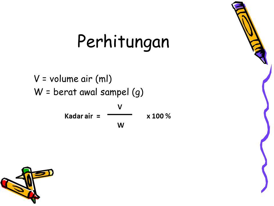 Perhitungan V = volume air (ml) W = berat awal sampel (g) V