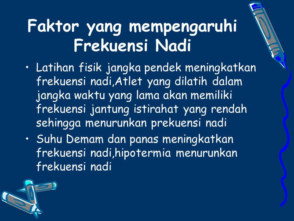 Faktor yang mempengaruhi Frekuensi Nadi