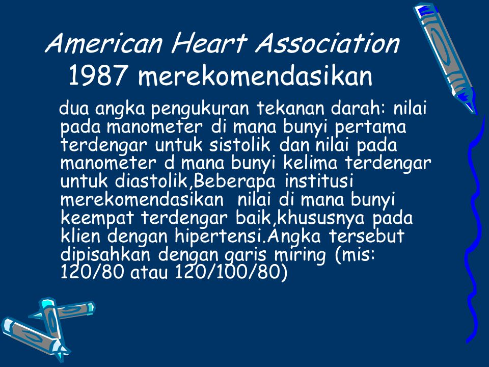 American Heart Association 1987 merekomendasikan
