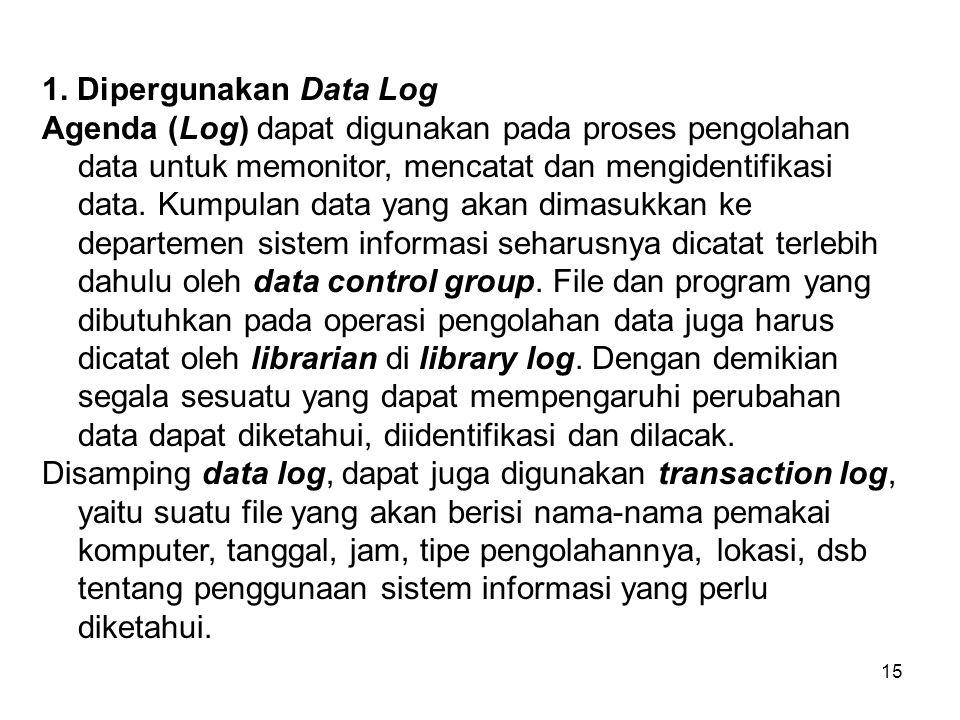 1. Dipergunakan Data Log