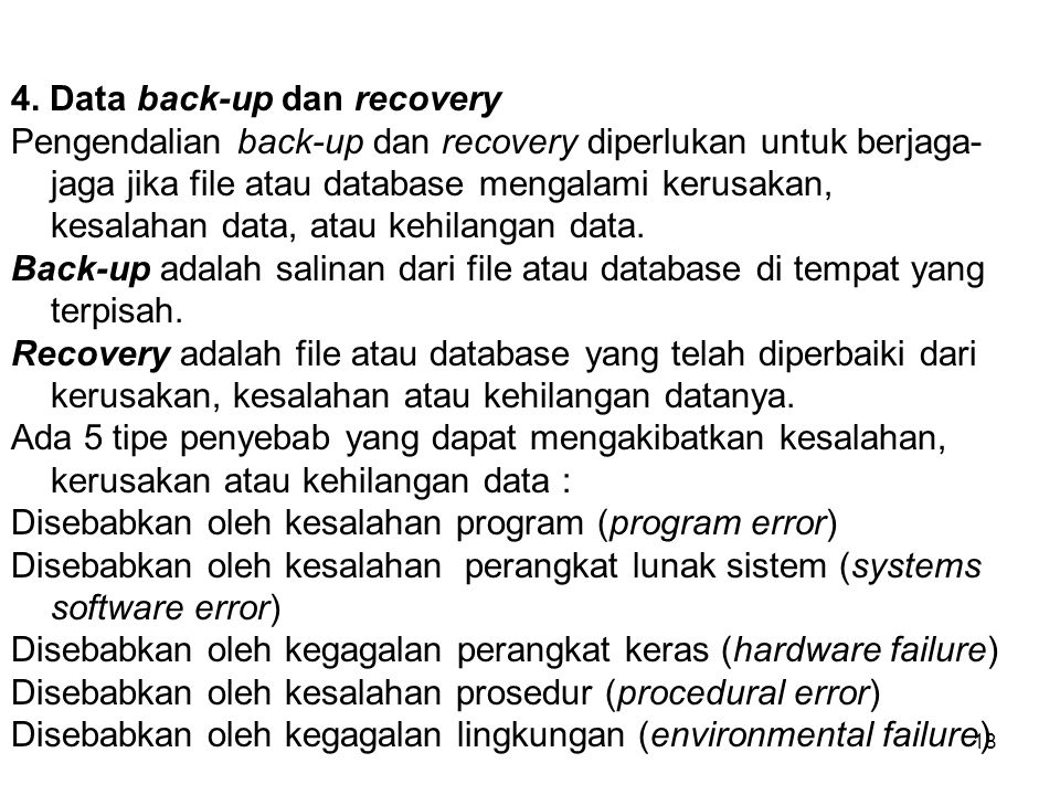 4. Data back-up dan recovery