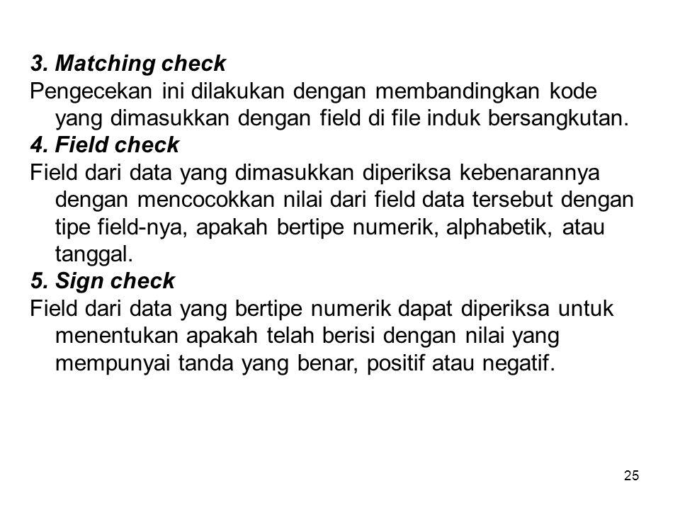 3. Matching check Pengecekan ini dilakukan dengan membandingkan kode yang dimasukkan dengan field di file induk bersangkutan.